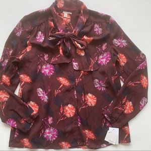 Halogen burgundy floral long sleeve blouse size L